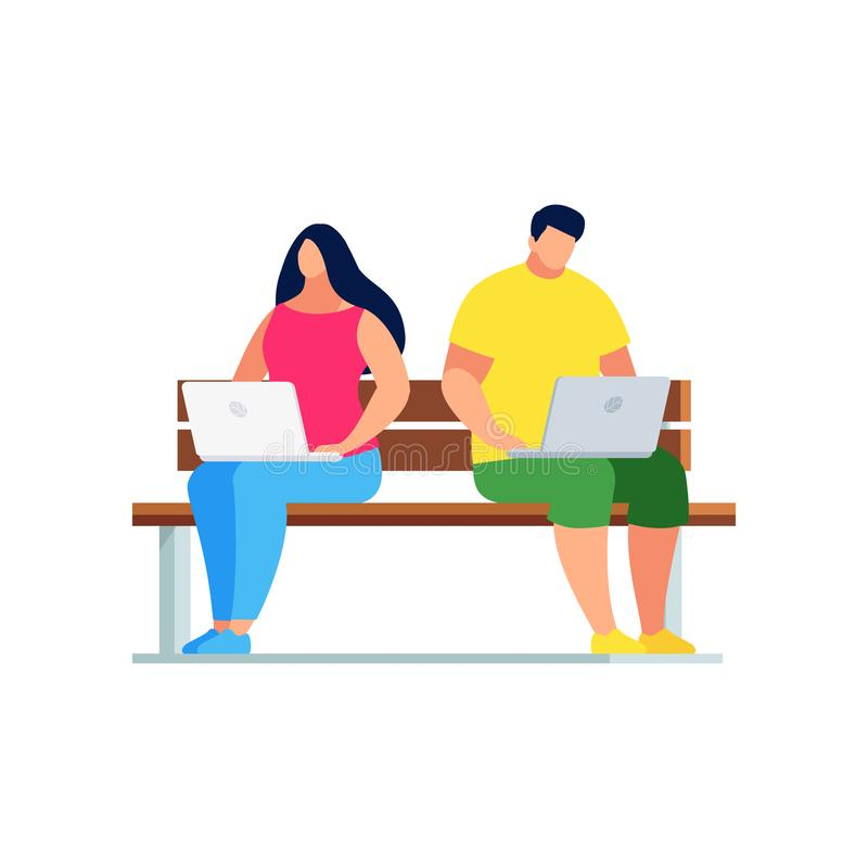 Man and woman sitting on a bench. royalty free illustration