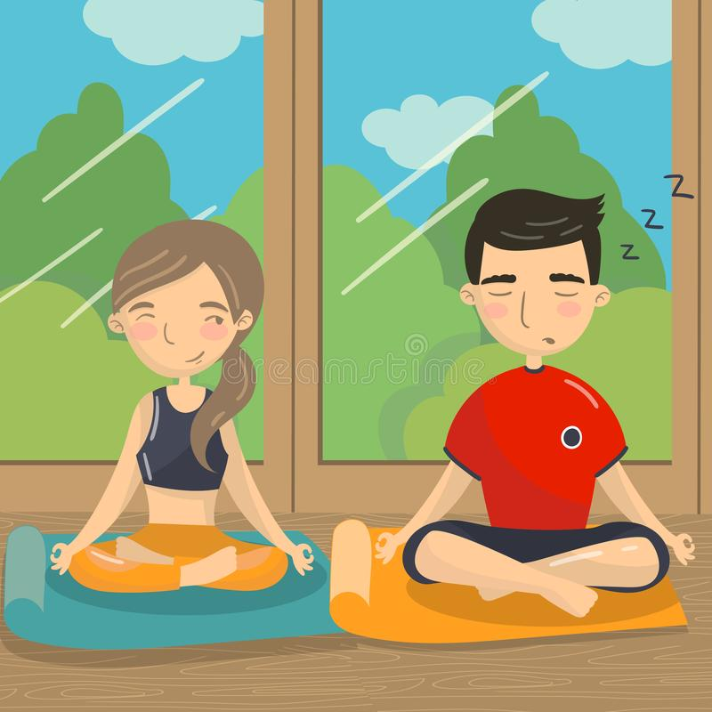 Man and woman sitting on the floor in lotus position, couple meditating in front of the window colorful vector. Illustration in cartoon style royalty free illustration