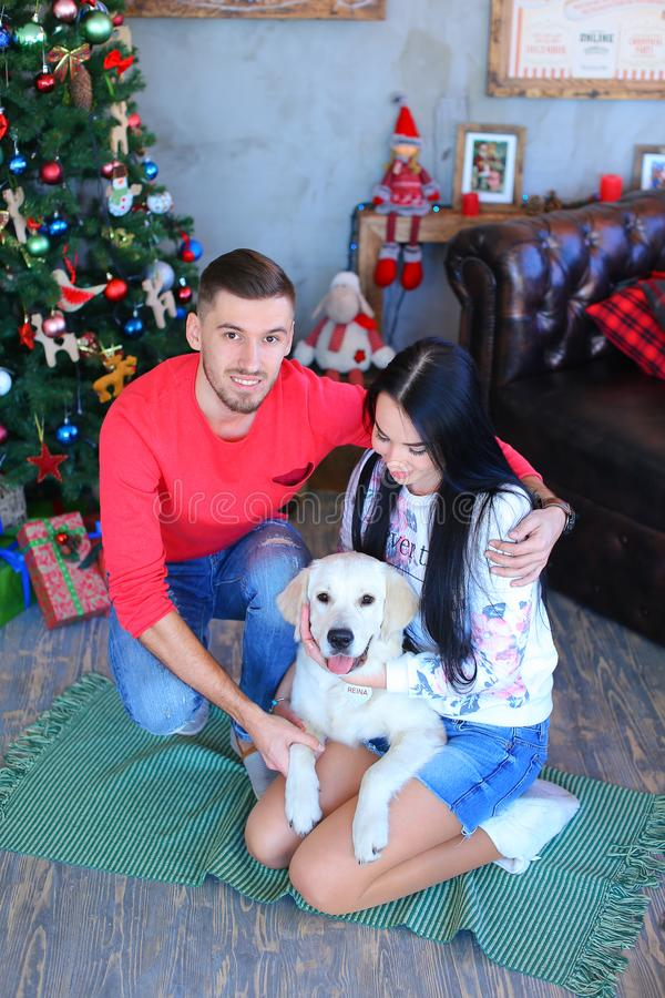 Man and woman sitting on floor with white dog near decorated Christmas tree. stock image