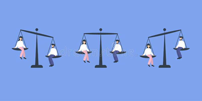 Gender equality woman and man royalty free illustration