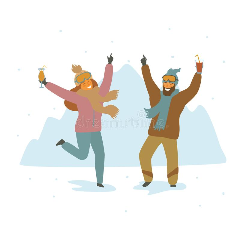 Man and woman skiers at apres ski party dancing celebrating cartoon isolated vector illustration. Scene vector illustration