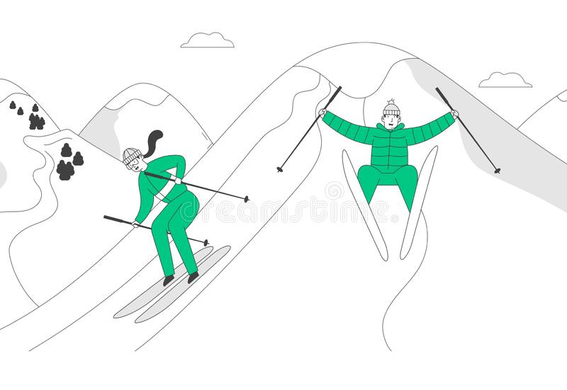 Man and Woman Skiers Riding Skis Downhill at Winter Season. Sport Activity on Mountain Resort at Cold Weather with Snow vector illustration