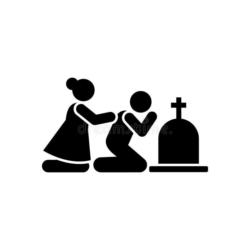 Man woman sorrow funeral dead icon. Element of pictogram death illustration.  vector illustration