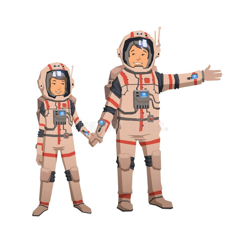 Man and woman in space suits holding hands. Astronauts couple, familly space travelling. Flat vector illustration. Man and woman in space suits holding hands and royalty free illustration