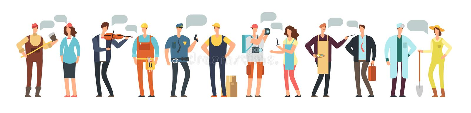 Man and woman specialist and employee. Group of people different professions with blank speech bubbles isolated on white vector illustration