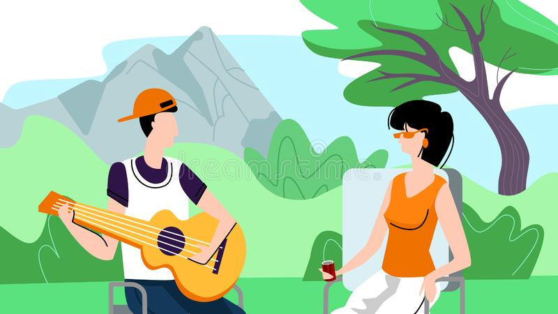 Man and Woman Spend Time Outdoors on Picnic, Camp. Happy Couple of Man and Woman Spend Time Outdoors on Picnic. Young Man Playing Guitar, Singing Song to Girl royalty free illustration