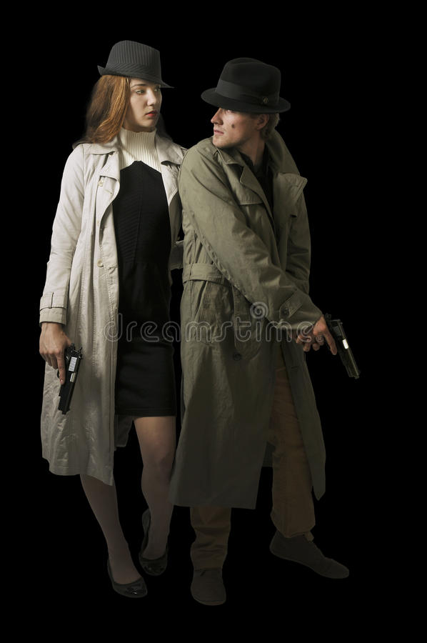 Man and woman spies stock photos