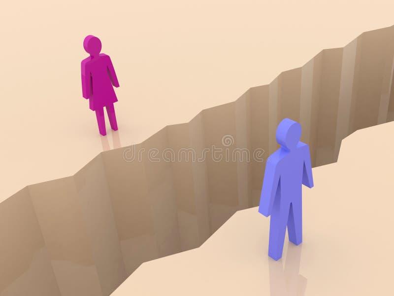 Download Man And Woman Split On Sides, Separation Crack. Stock Illustration - Image: 29498102