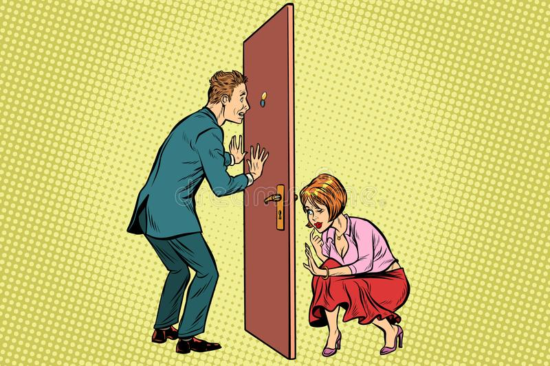 Man and woman spy each other royalty free illustration