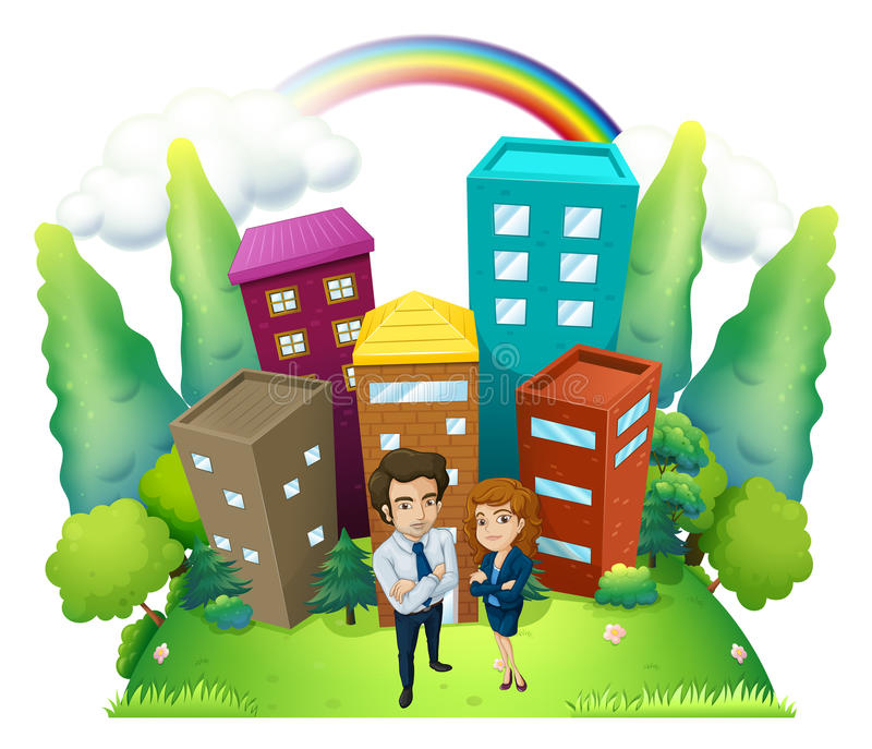 Download A Man And A Woman Standing In Front Of The Tall Buildings Stock Illustration - Illustration of isolated, girl: 34713625