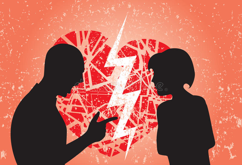 Man and woman struggling and having argument vector illustration