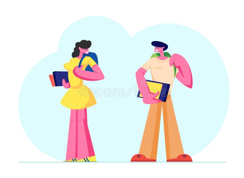 Man and Woman Students Characters with Backpacks and Books Watching on Each Other. University, High School Education stock illustration