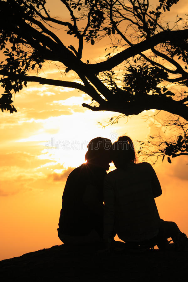 Download Man and woman in sunset stock image. Image of nature - 25081161