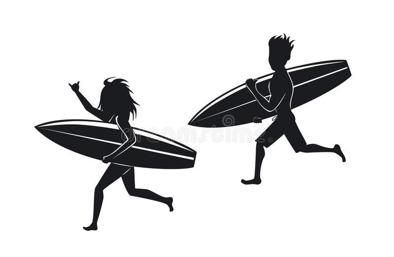 Man and woman surfers running with surfboard royalty free illustration
