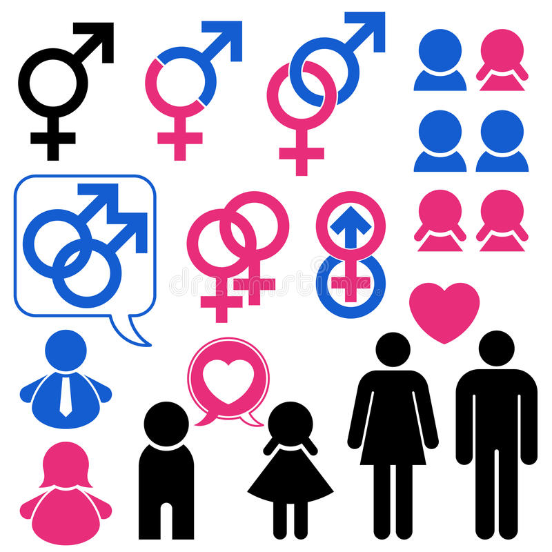 Man and woman symbol set relationship vector illustration
