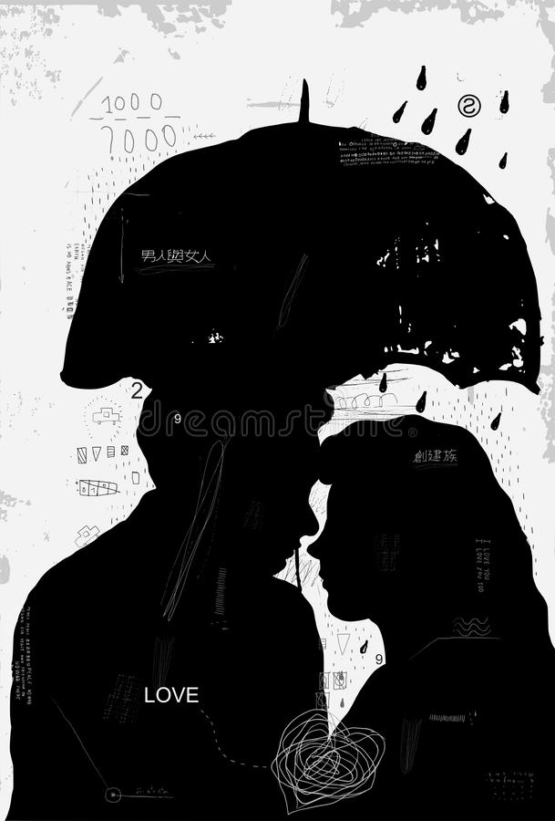Man and woman royalty free illustration