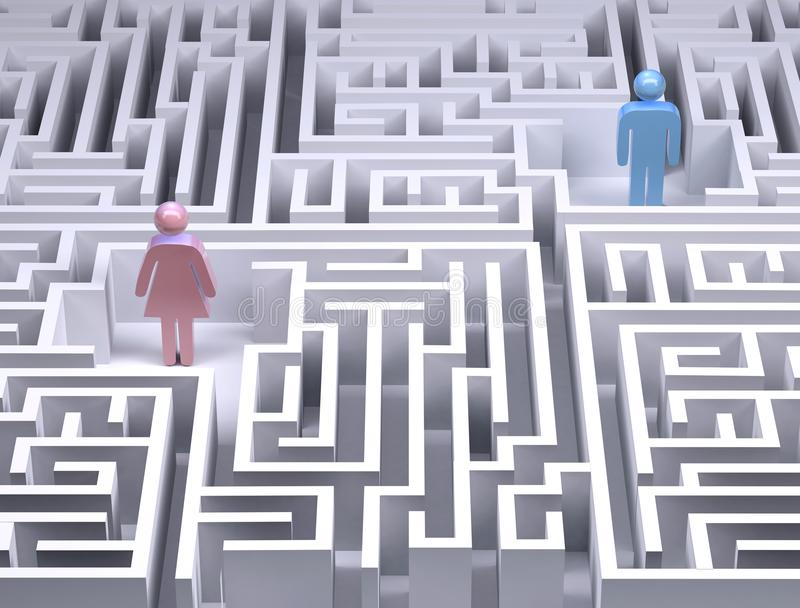 Man and woman symbols in the labyrinth maze. 3d illustration royalty free illustration
