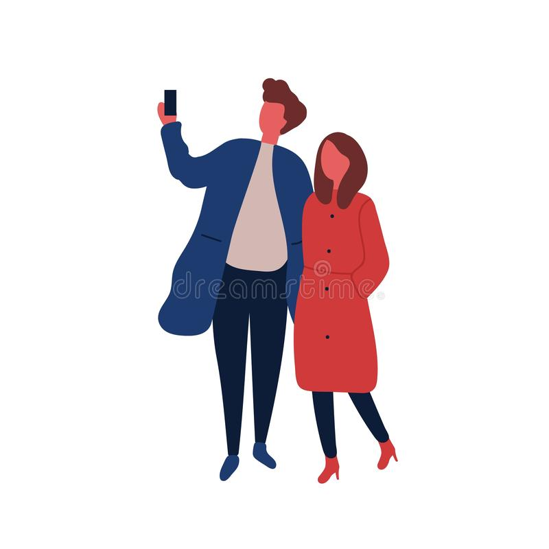 Man and woman taking selfie flat vector illustration. Boyfriend and girlfriend on date. Stylish guy holding smartphone. Cartoon character on white background vector illustration