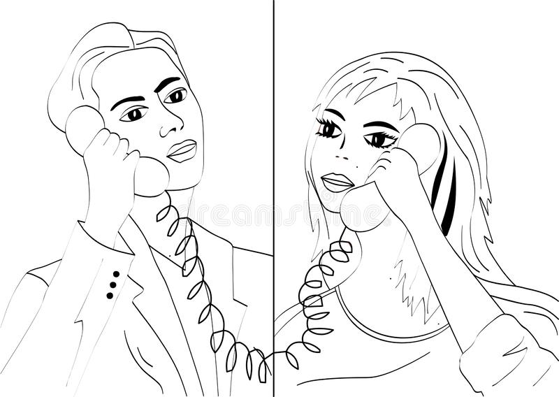 Man and woman talking on the phone. Vector graphics. Man and woman talking on the phone royalty free illustration