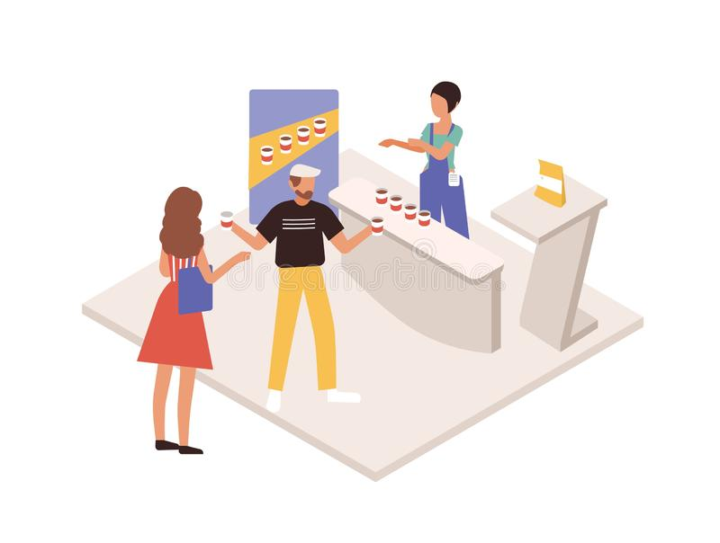 Man and woman tasting beverage or drink at commercial promotional stand. Promoter, seller or consultant demonstrating. Product to customers. People at trade vector illustration