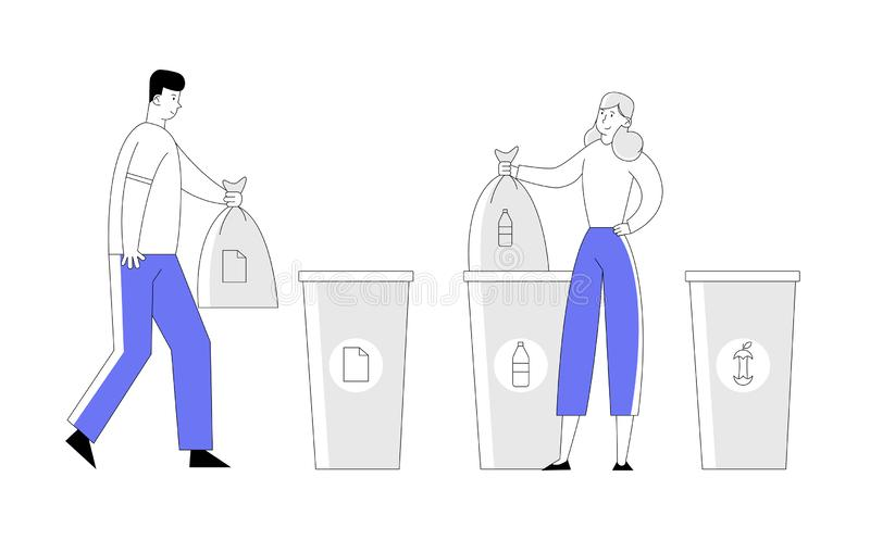 Man and Woman Throw Trash into Recycling Containers and Bags. People Recycle Garbage, Environmental Pollution stock illustration