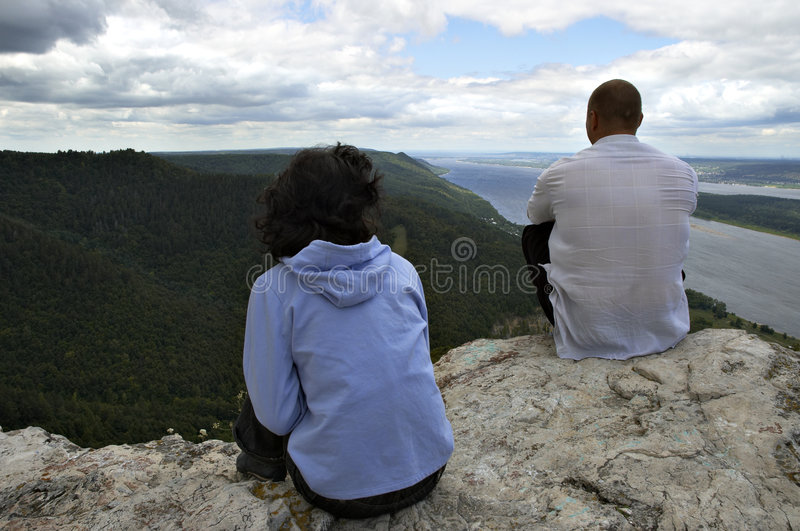 Man and woman on the top stock photo