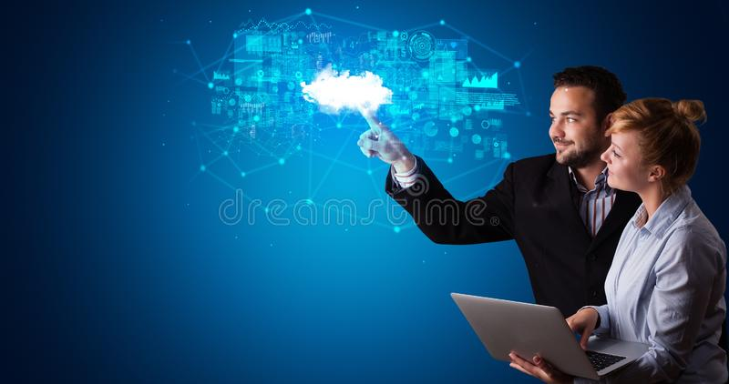 Man and woman touching cloud system hologram royalty free stock photography
