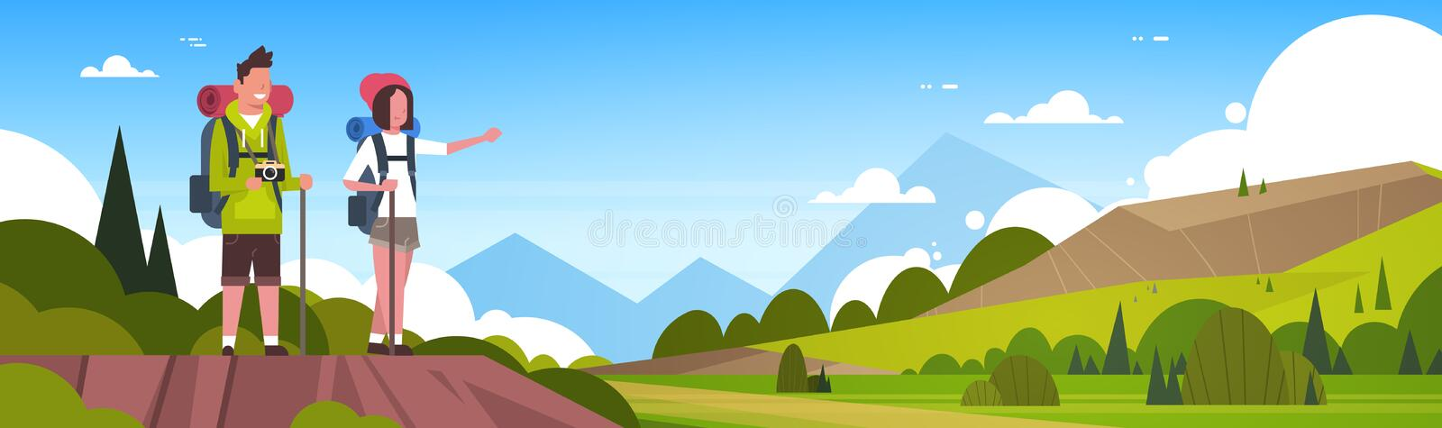 Man And Woman Tourists With Backpacks Over Beautiful Nature Landscape Background Couple Hiking Horizontal Banner. Flat Vector Illustration royalty free illustration