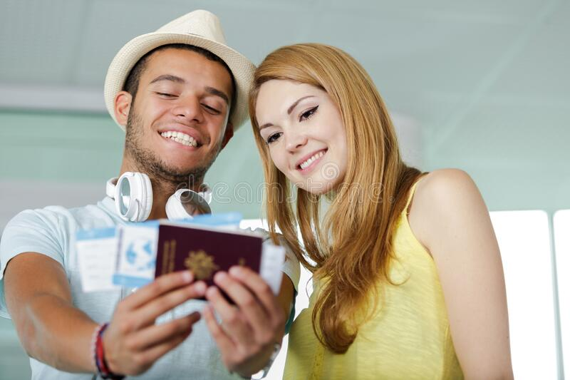 Man and woman on travel concept stock photos