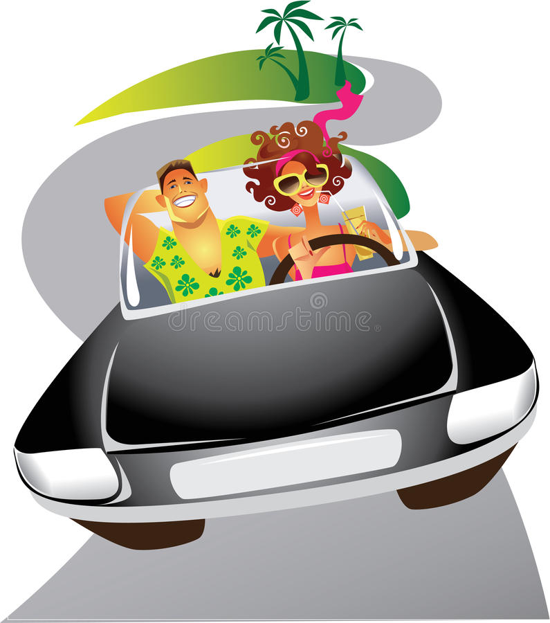 Man and the woman travelling by the car. Vector illustration of the man and the woman travelling by the car
