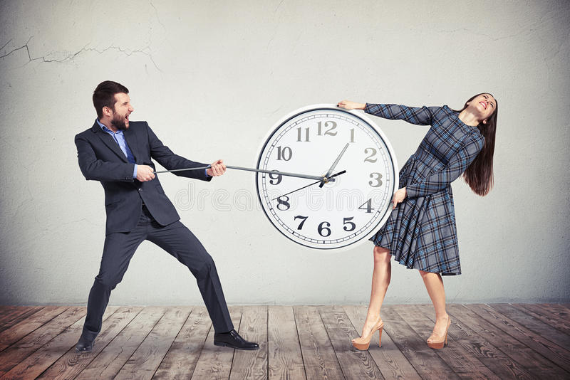 Download Man And Woman Are Trying To Slow Down The Time Stock Illustration - Image: 70773691