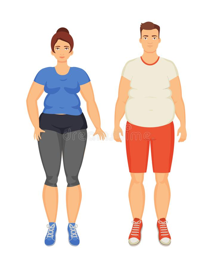 Man and Woman Unhappy Obesity Vector Illustration vector illustration