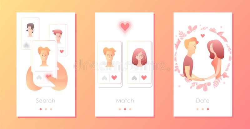 Man and woman using mobile application for dating or searching romantic partner on internet. Couple met online. Mobile app templates concept vector royalty free illustration