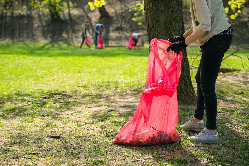 Man and woman volunteer wearing picking up trash and plastic waste in public park. Young people wearing gloves and putting litter royalty free stock photos