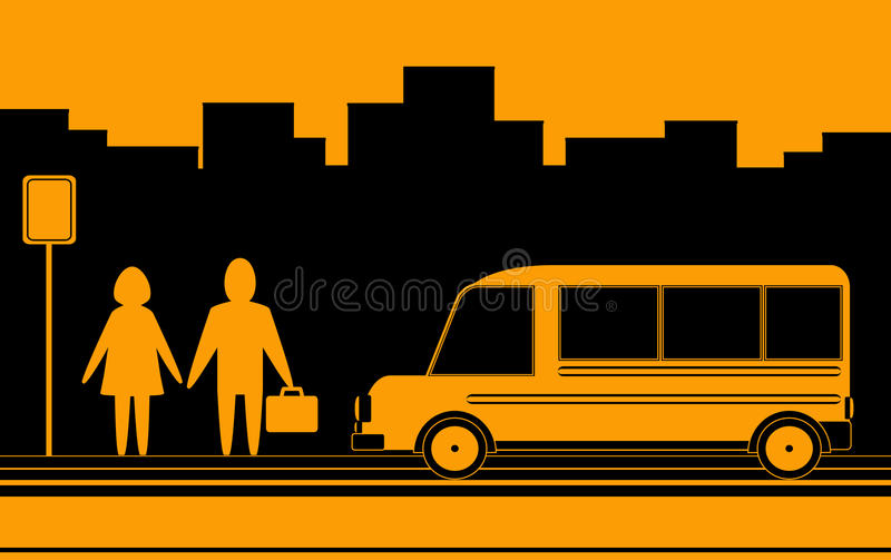 Download Man And Woman Waiting Bus In City Royalty Free Stock Photo - Image: 23629215