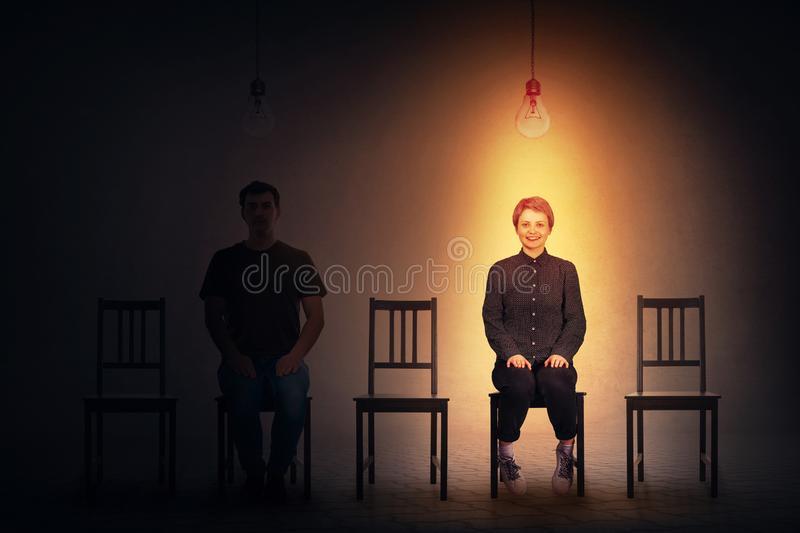 Man and woman waiting to be hired, job recruitment opportunity, vacant place. Row of many chairs and two people seated, man and woman waiting to be hired royalty free illustration