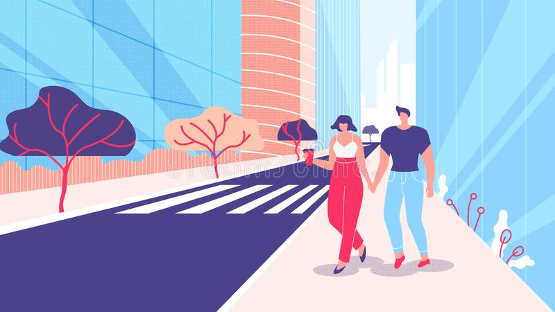 Man and Woman Walk Along Street Megalopolis Flat. Athletic Guy and Girl Walk on Street Against Background Buildings. Couple in Love Holding Hands and Walking stock illustration