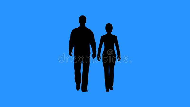 Man and woman walking together stock illustration