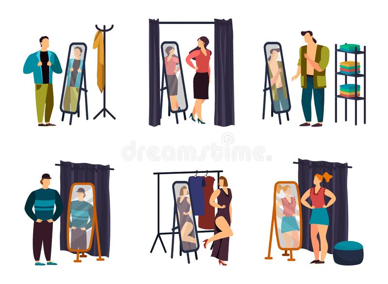 Man, woman at wardrobe or checkroom, dressing room vector illustration
