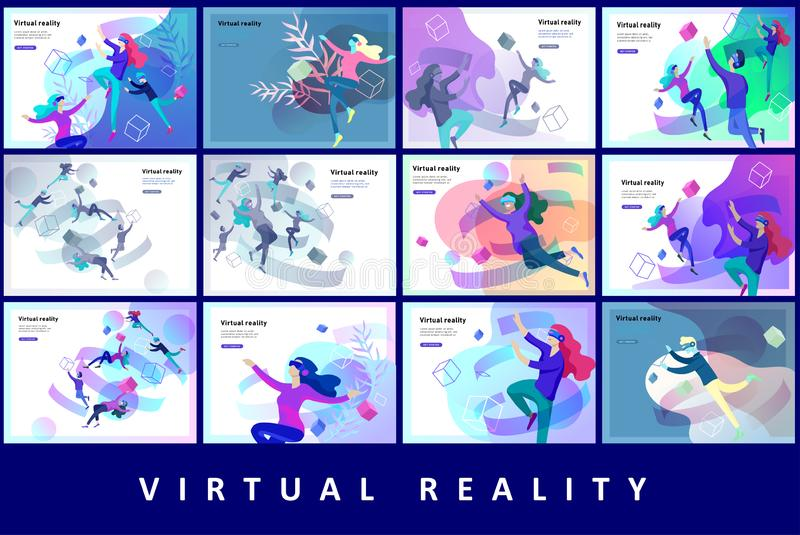 Man and woman wearing virtual reality headset and looking at abstract sphere. Colorful vr world. Virtual augmented vector illustration
