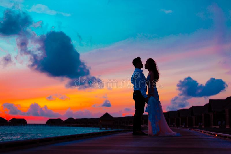 Man and Woman Wearing Wedding Attire Standing on Sea Dock during Golden Hour royalty free stock photo
