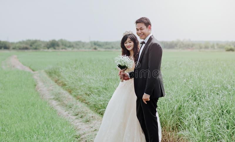 Man and Woman Wearing Wedding Dress and Suit in Between of Rice Fields stock images