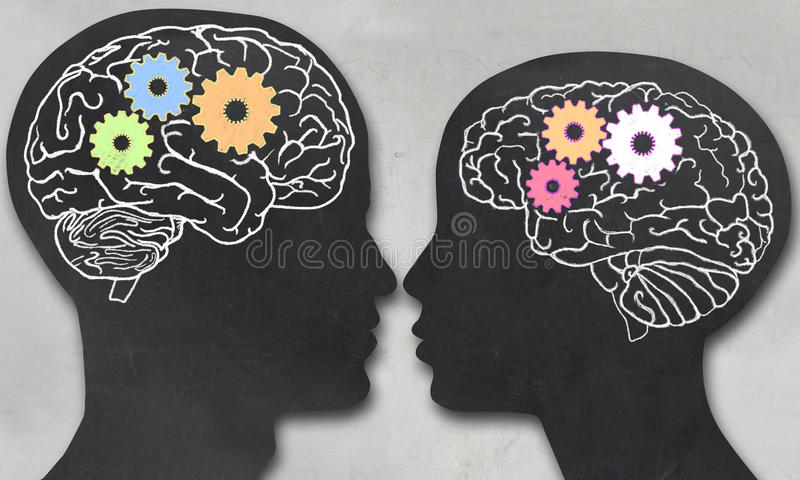 Man and Woman with Working Brain vector illustration