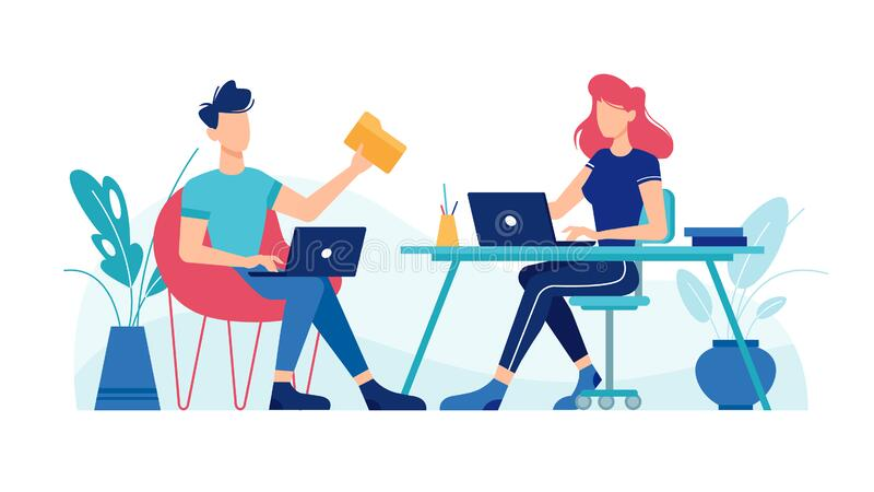Man and woman working with laptops computers. Man and woman working with laptop computers at office workplace tables, vector flat design. Office workers or stock illustration