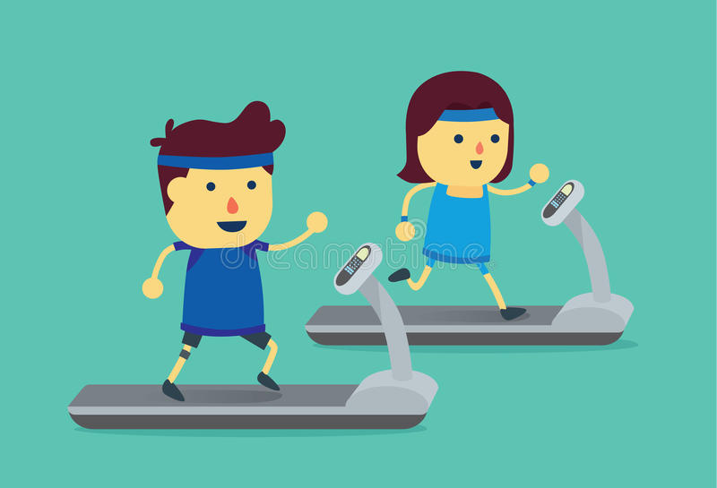 Man and woman workout with running on treadmill. vector illustration