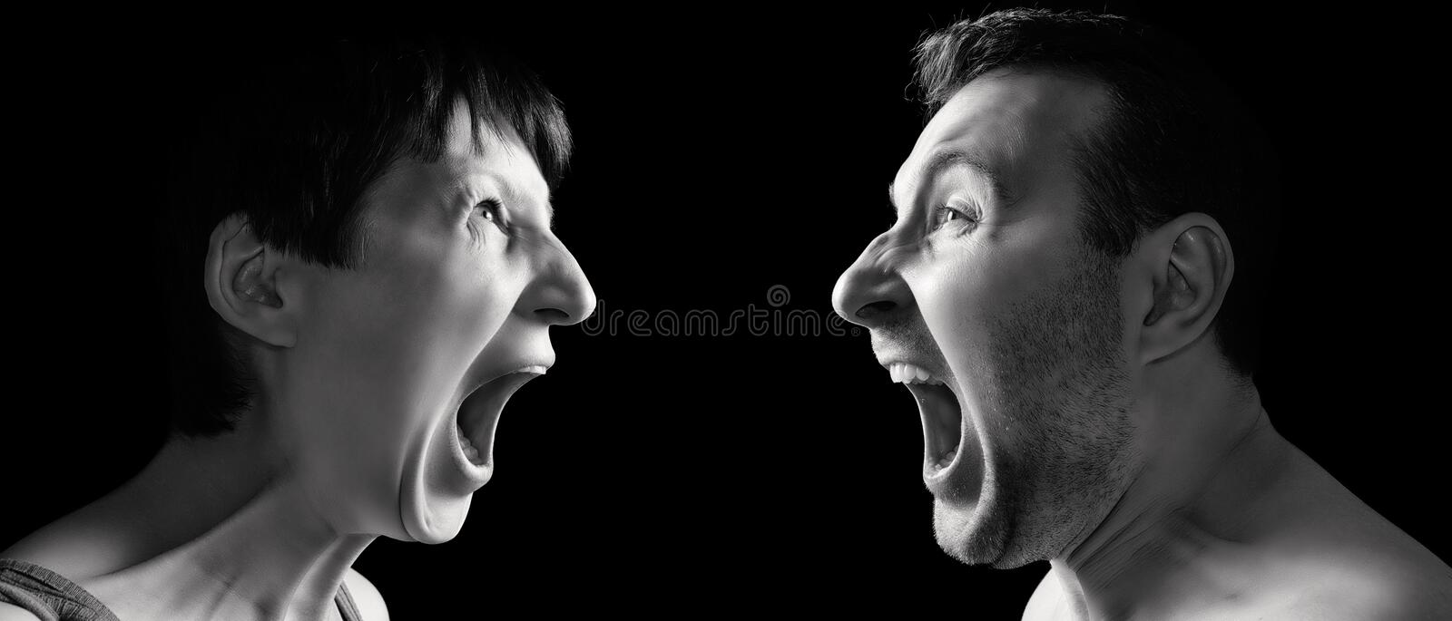 Man and woman yell at each other royalty free stock image
