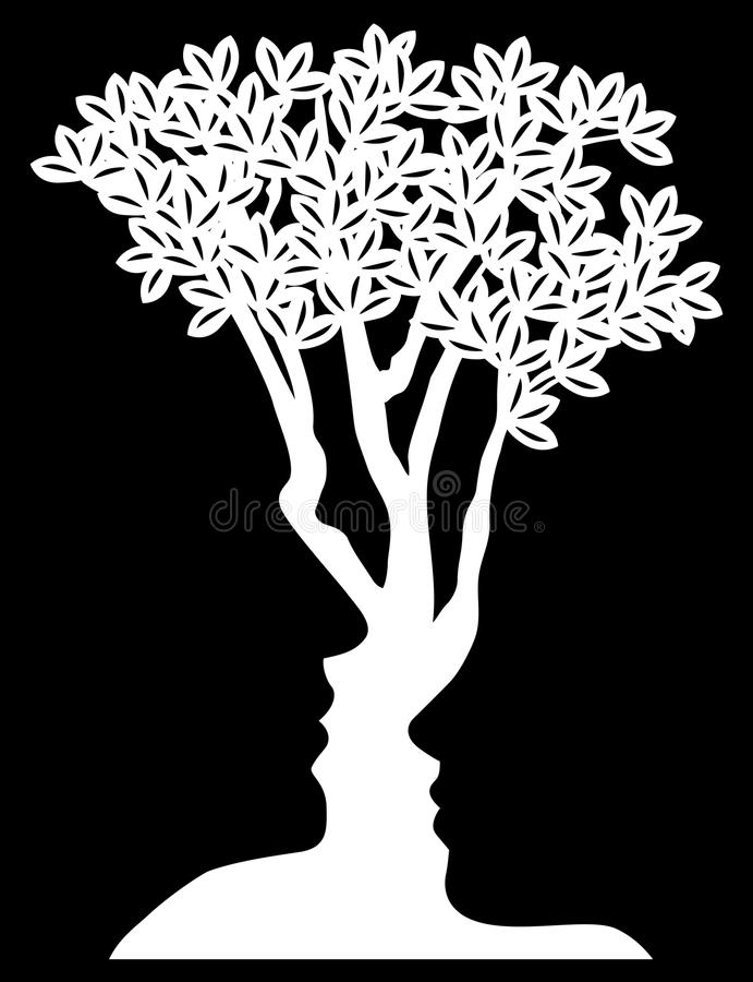 Optical Illusion Tree Faces Concept vector illustration