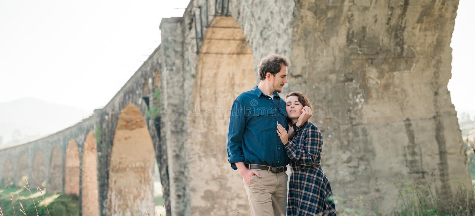 Young stylish lovers couple at beginning of love story stock photo