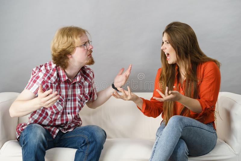 Man and woman having fight royalty free stock photos