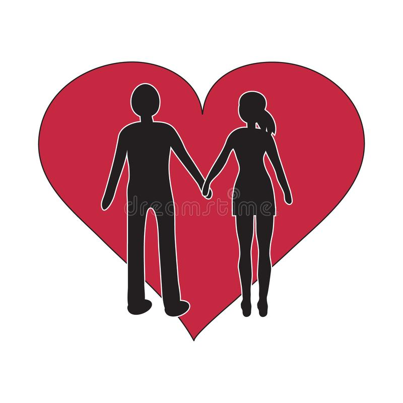 Man and women holding hand black silhouette with red heart simple vector illustration. Man and women holding hand black silhouette with red heart simple royalty free illustration